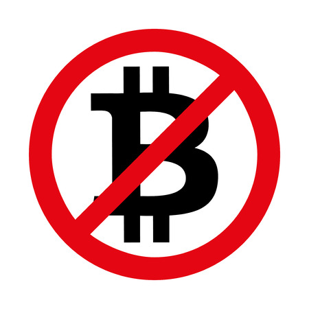 Sign of Ban of Cryptocurrency Bitcoin. Vector Illustration isolated on white background. Illustration