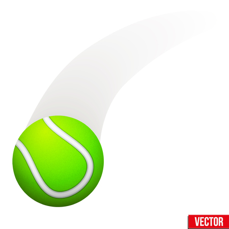 Tennis ball in motion. Moving ball. Vector Illustration Isolated on white background.