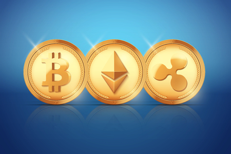 Top Coin of Cryptocurrency. Bitcoin and Ethereum and Ripple. Gold coins on blue backdrop. Vector Illustration