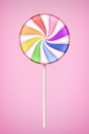 Rainbow Lolipop candy on pastel pink background. ?oncept of same sex love. Vector Illustration.