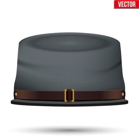 Civil War Confederate Cavalry Hat. American Confederate Kepi. Front view. Vector Illustration isolated on a white background.  イラスト・ベクター素材