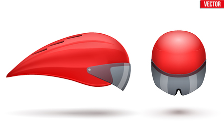 Set of Time trial bicycle helmet models. Front and Side view. Equipment of Road bicycle racing.