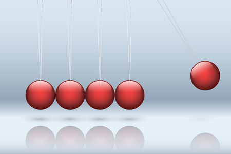 Classic newton cradle with metallic red ball. Concept of pendulum in business. Vector Illustration Иллюстрация
