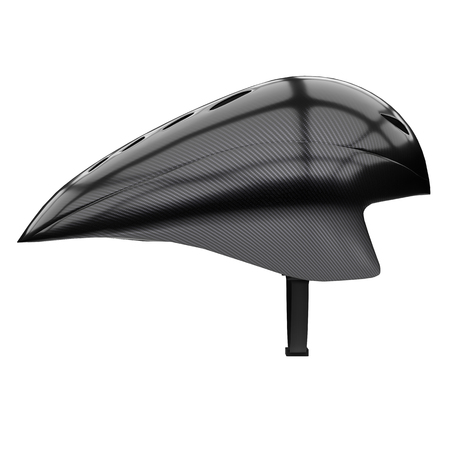 Time trial bicycle carbon helmet model. Side view. Equipment of Road bicycle racing. 3D render Illustration isolated on a white background.