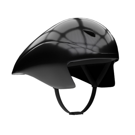 Time trial bicycle carbon helmet model. Perspective view. Equipment of Road bicycle racing. 3D render Illustration isolated on a white background.