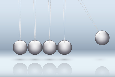 Classic newton cradle with metallic ball. Concept of pendulum in business. Vector Illustration