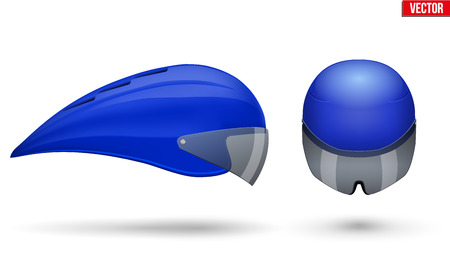 Set of Time trial bicycle helmet models. Front and Side view. Equipment of Road bicycle racing. Blue color. Vector Illustration isolated on white background.