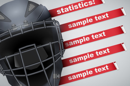 Background of Baseball sports. Infographic of list and schedule of players and statistics. Catcher mask helmet on spase for text. Vector Illustration.