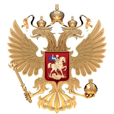 양방향 독수리와 러시아의 국장입니다. 러시아의 황금 상징입니다. 3D 렌더링 그림 흰색 배경에 고립입니다. 스톡 콘텐츠