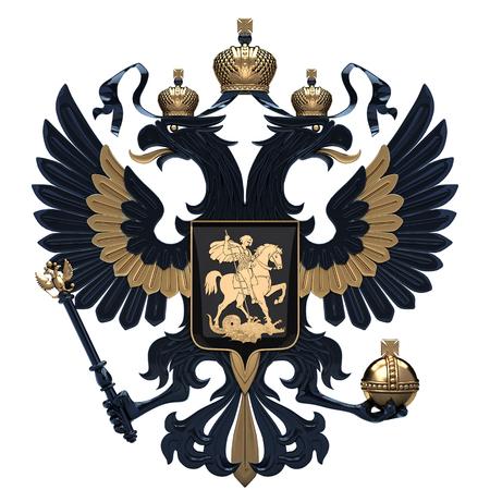 양방향 독수리와 러시아의 국장입니다. 러시아의 검정색과 금색 상징입니다. 3D 렌더링 그림 흰색 배경에 고립입니다.