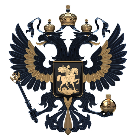 Coat of arms of Russia with two-headed eagle. Black and gold symbol of Russian Federation. 3D render Illustration isolated on a white background.