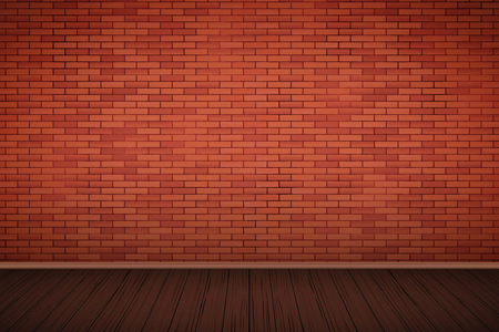 Interior of red brick wall and wooden floor. Vintage Rural room and fashion interior. Grunge Industrial Texture. Background of loft and trendy showroom or cafe. Vector Illustration.