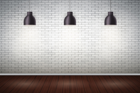 Interior of White brick wall with vintage pedant lamps and wooden floor. Vintage Rural room and fashion interior. Grunge Industrial Texture. Background of loft and trendy showroom or cafe.