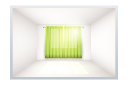 Example of an empty room with white walls and a window. Simple interior without furnish and furniture. Curtains are densely curtained. Imitation of three-dimensional space. Иллюстрация