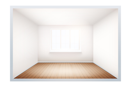 Example of an empty room with white walls and a window. Simple interior without furnish and furniture. Sunlight falls from the window to the wooden floor. Imitation of three-dimensional space. Vector.