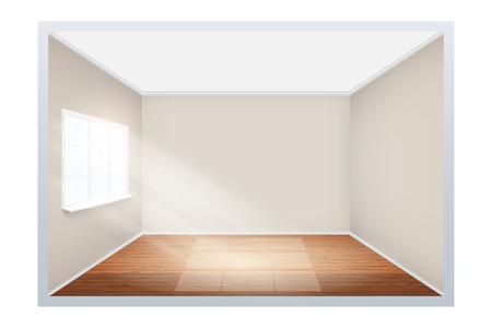 Ejemplo de habitación vacía con suelo de madera y ventana lateral. Interior sencillo sin muebles ni muebles. La luz del sol cae de la ventana al suelo. Imitación del espacio tridimensional.