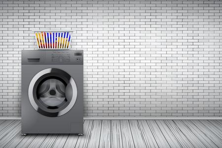 Intérieur de la buanderie avec machine à laver d'argent et panier sur fond de mur de briques blanches. Le concept d'équipement moderne pour la lessive et les appareils ménagers. Illustration vectorielle Vecteurs