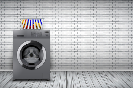 Laundry room interior with silver washing machine and basket on white brick wall background. The concept of modern equipment for home laundry and household appliances. Vector Illustration