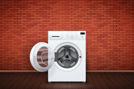 Laundry room interior with washing machine on red brick wall background. The concept of modern equipment for home laundry and household appliances. Vector Illustration