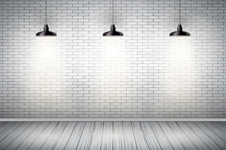 Interior of White brick wall with vintage pedant lamps and wooden floor. Vintage Rural room and fashion interior. Grunge Industrial Texture. Background of loft and trendy showroom or cafe. Vector.