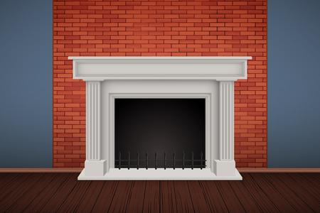 Intérieur du mur de briques rouges avec cheminée et parquet. Chambre rurale vintage et intérieur de mode. Fond de loft et restaurant branché ou café. Illustration vectorielle. Vecteurs
