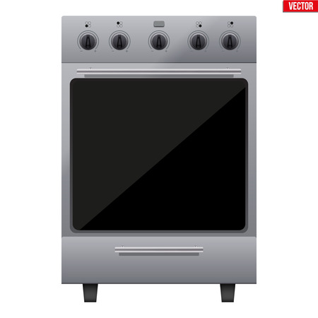 Classic Silver Kitchen Stove. Gas or Electric Range Cooker. Front View. Domestic equipment and Kitchen appliance. Vector Illustration isolated on white background.