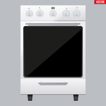 Classic White Kitchen Stove. Gas or Electric Range Cooker. Front View. Domestic equipment and Kitchen appliance. Vector Illustration isolated on white background.