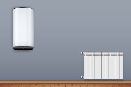 Water heater Boiler on wall and Metal Heating radiator in room. Home appliances for comfort. Modern Central heating system equipment. Water and steam model for wall. Vector Illustration Vector Illustration