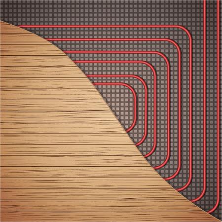 Vloerverwarmingssysteem onder houten kap. Bovenaanzicht. Manieren om leidingen onder dekking te installeren. Vector illustratie geïsoleerd op een witte achtergrond.