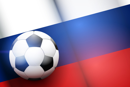 Poster of Football ball on Russia Flag Backgound. Football and Soccer Games. Sport equipment and teams. Vector Illustration
