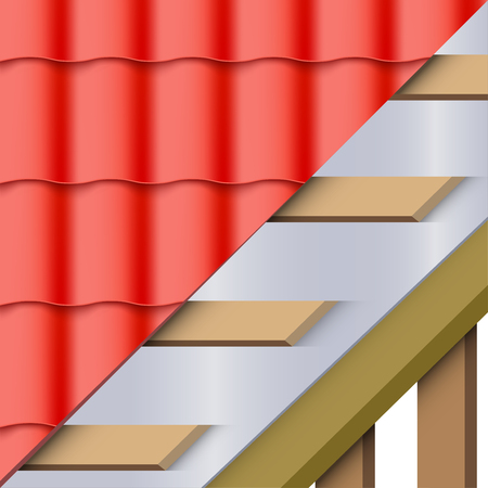Demonstration of install roof cover red ceramic tiles in layers. Top view. Vector Illustration isolated on white background. Stock Illustratie