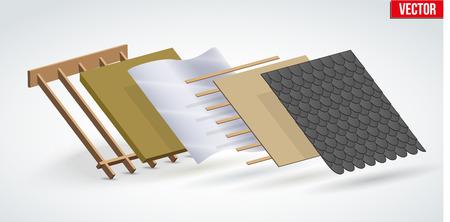 Demonstration der Installation der schwarzen Schindeln der Dachabdeckung in Schichten. Perspektivische Ansicht. Vektorillustration lokalisiert auf weißem Hintergrund.