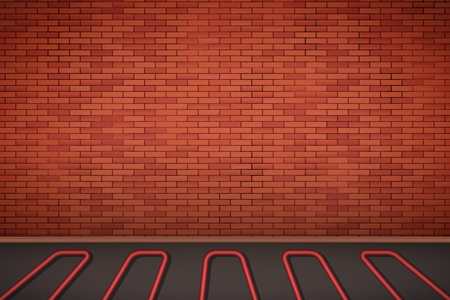 Brick wall in room with heating floor. Simple interior without furnish and furniture. Floor heating system. Ways of installing pipes under cover. Vector Illustration