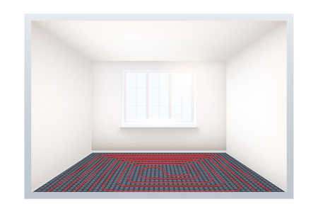 Empty room with heating floor and window. Simple interior without furnish and furniture. Floor heating system. Ways of installing pipes under cover. Vector Illustration