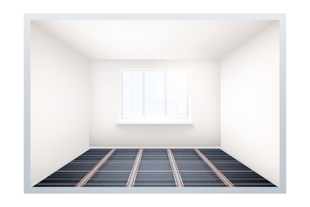 Empty room with infrared heating floor and window. Simple interior without furnish and furniture. Floor heating system. Ways of installing films under cover. Vector Illustration