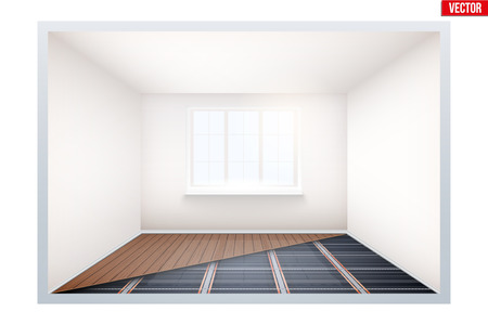 Presentation of Floor heating system. Empty room with infrared heating floor and window. Simple interior without furnish and furniture. Ways of installing films under cover. Vector Illustration