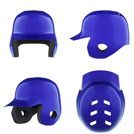 Set of Classic Baseball batting helmets. Sport equipment. All side view. 3D render illustration Isolated on a white background. Stock Photo