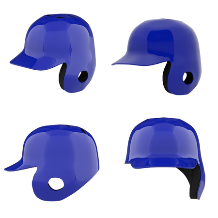 Set of Baseball batting helmets with one ear protect. All side view. Sport equipment. 3D render illustration Isolated on white background.