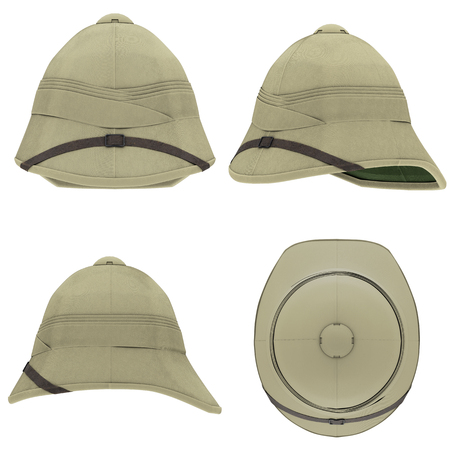 Set of Classic Cork Pith Helmets. All side view. Equipment for safari or explorer. Research and discover. 3D render Illustration isolated on a white background.