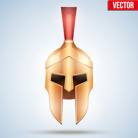 Realistic Spartan and Gladiator helmet. Warrior Attic Golden Helmet with horse crest. Front view. Vector Illustration