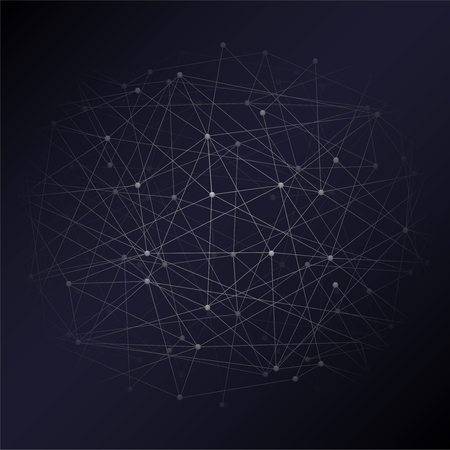Abstract Digital background of Science or Blockchain. Molecules or blocks are connected. Square format. Vector Illustration. Illustration