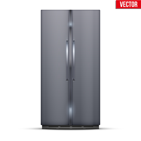 Modern Fridge Freezer refrigerator with double doors in silver color. Household tech and appliances. Vector Illustration isolated on white background. 向量圖像