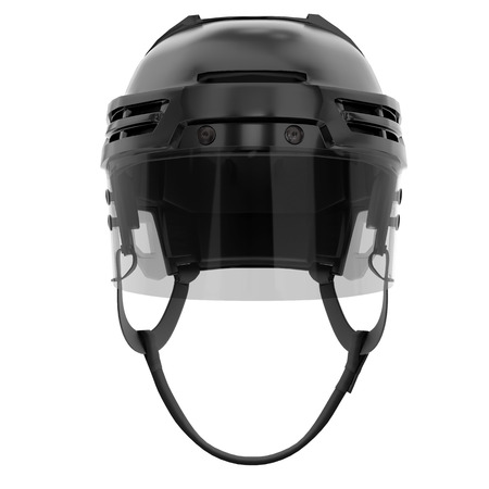 Classic Ice Hockey Helmet with Glass Visor. Front view. Sport athlete equipment. Template 3D render illustration Isolated on white background. Banco de Imagens