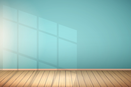 Example of an empty room with blue walls and light from the window. Simple interior without furnish and furniture. Sunlight reflected on the wall. Vector.