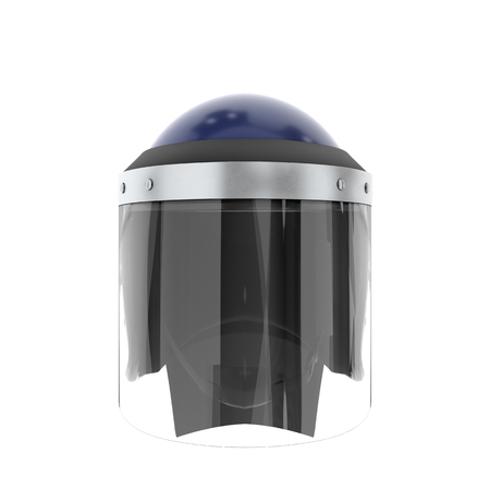Police Riot Helmet with Closed Glass Visor. Front view. Police service Protect equipment. Template 3D render illustration Isolated on white background.