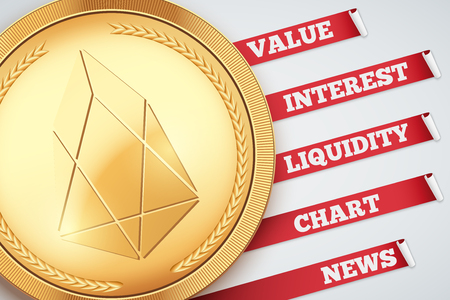 Background of EOS cryptocurrency Infographic. Knowledge and information of cryptocurrency. Editable Vector Illustration