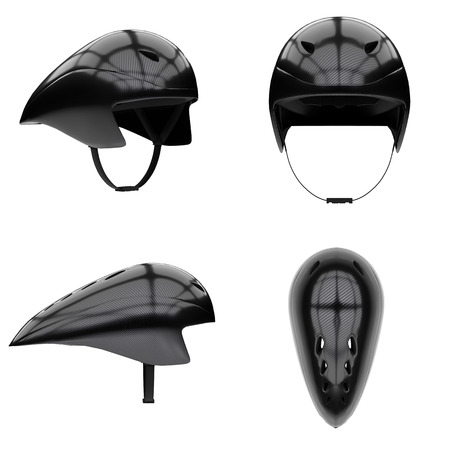 Set of Time trial bicycle carbon helmet. All side view. Equipment of Road bicycle racing. 3D render Illustration isolated on a white background.