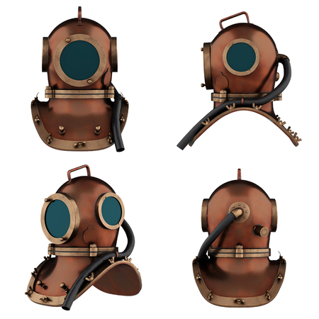 Set of Underwater diving scuba helmet. Old school and vintage style. All side view. 3D render Illustration isolated on a white background. Stock Photo
