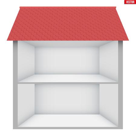 Casa a due piani Casa in sezione. Prova l'interno di una casa vuota. Progettazione degli interni e delle comunicazioni. Illustrazione vettoriale isolato su sfondo bianco.