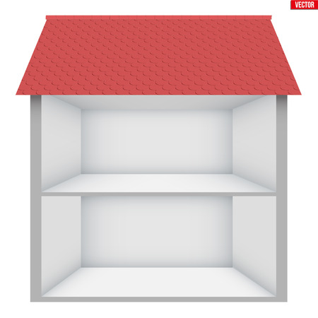 Two-storey house House in section. Sample empty house interior. Planning of interior and communications. Vector Illustration isolated on white background.